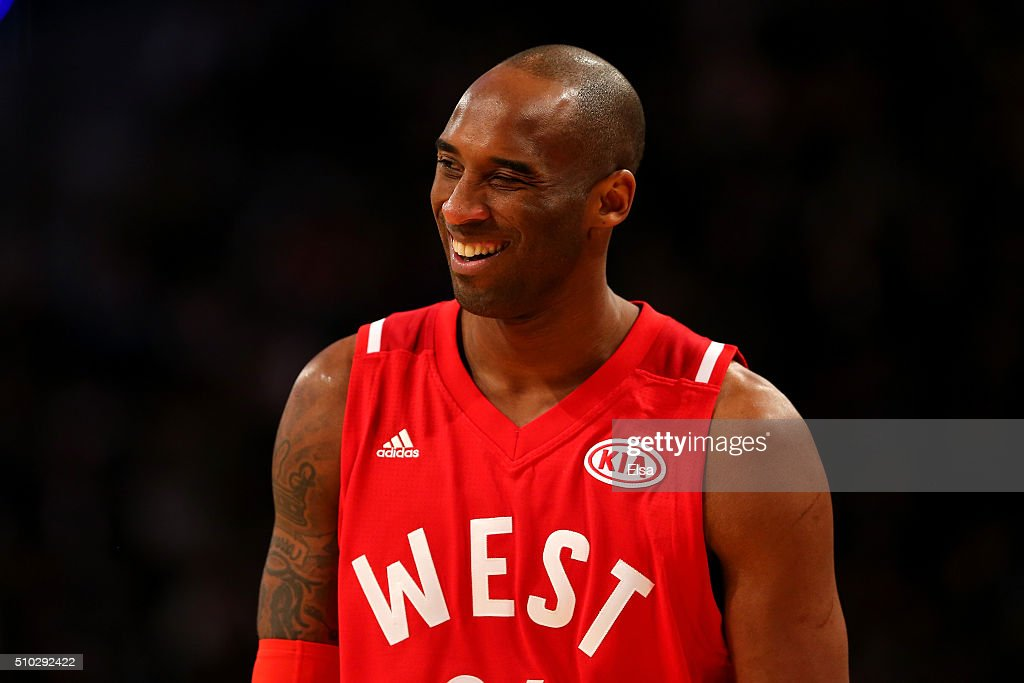 <a gi-track='captionPersonalityLinkClicked' href=/galleries/search?phrase=Kobe+Bryant&family=editorial&specificpeople=201466 ng-click='$event.stopPropagation()'>Kobe Bryant</a> #24 of the Los Angeles Lakers and the Western Conference smiles in the first half against the Eastern Conference during the NBA All-Star Game 2016 at the Air Canada Centre on February 14, 2016 in Toronto, Ontario.