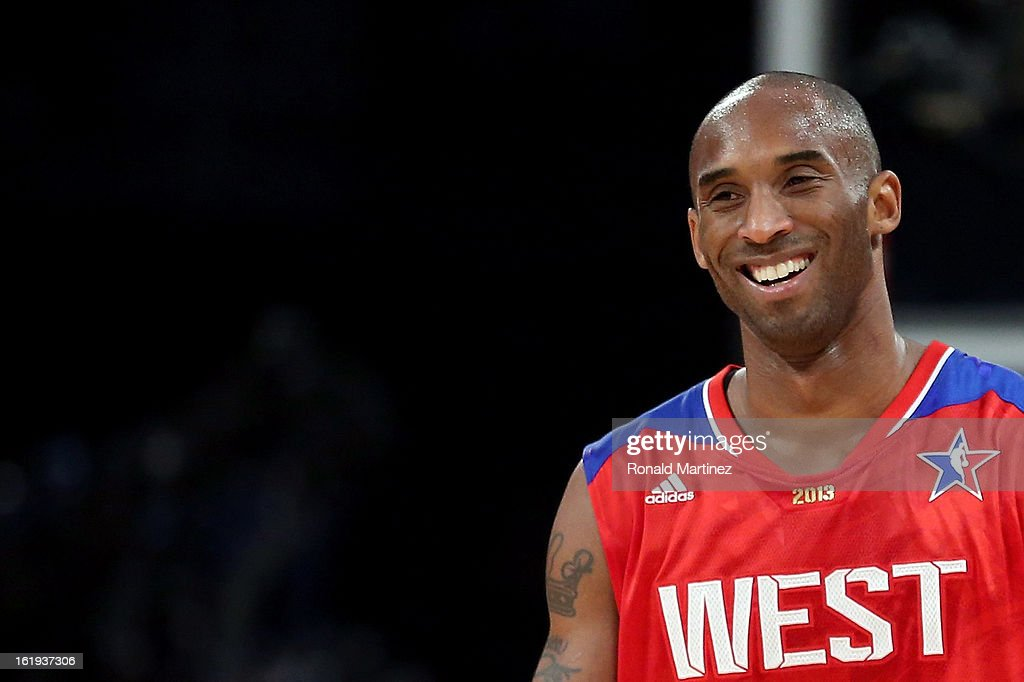 Kobe Bryant of the Los Angeles Lakers and the Western Conference smiles during the 2013 NBA AllStar game at the Toyota Center on February 17 2013 in...