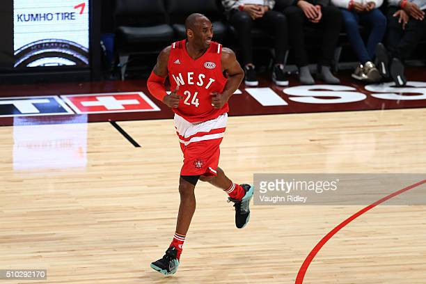 Kobe Bryant of the Los Angeles Lakers and the Western Conference runs up court after a play in the first half against the Eastern Conference during...