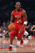 Kobe Bryant of the Los Angeles Lakers and the Western Conference moves the ball in the 2011 NBA AllStar Game at Staples Center on February 20 2011 in...