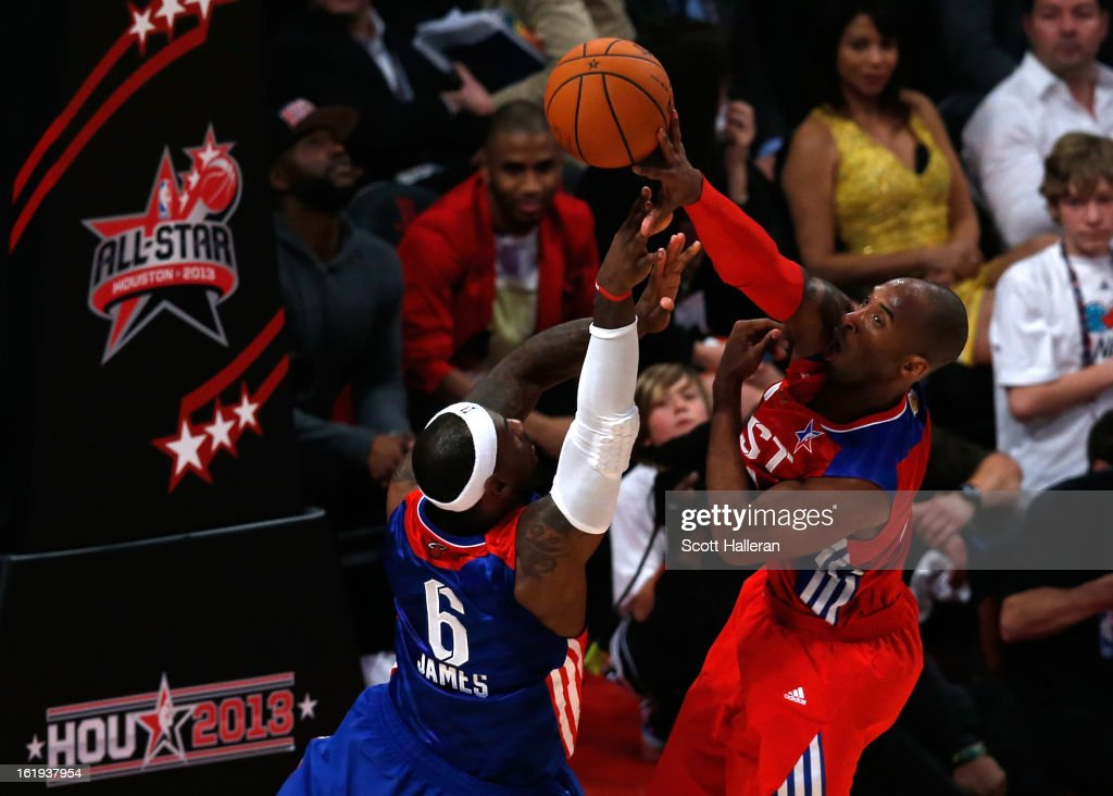 Kobe Bryant #24 of the Los Angeles Lakers and the Western Conference blocks the shot of LeBron James #6 of the Miami Heat and the Eastern Conference in the fourth quarter during the 2013 NBA All-Star game at the Toyota Center on February 17, 2013 in Houston, Texas.