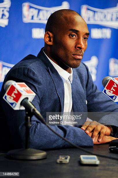 Kobe Bryant of the Los Angeles Lakers answers questions from the media following his team's loss to the Oklahoma City Thunder in Game Four of the...