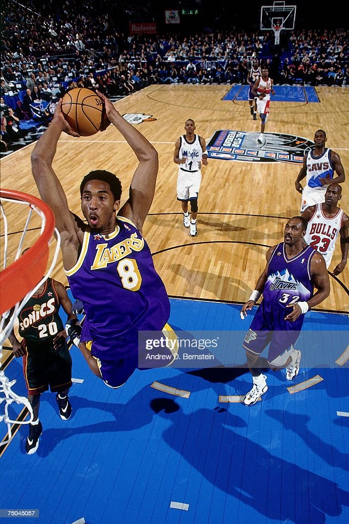 Kobe Bryant of the Los Angeles Lakers attempts a dunk during the 1998 NBA AllStar Game on February 8 1998 at Madison Square Garden in New York New...