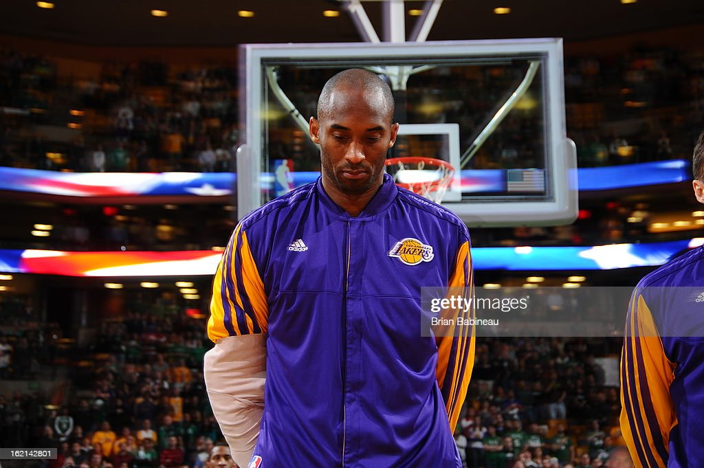 Kobe Bryant #24 of the Los Angeles Lakers before the game against the Boston Celtics on February 7, 2013 at the TD Garden in Boston, Massachusetts.
