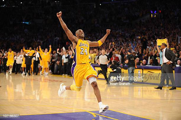 Kobe Bryant of the Los Angeles Lakers begins to celebrate as time expires against on the Boston Celtics in Game Seven of the 2010 NBA Finals on June...