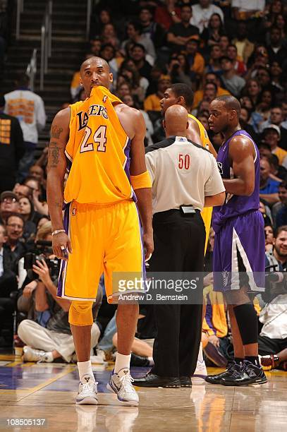 Kobe Bryant of the Los Angeles Lakers bites his jersey during a game against the Sacramento Kings at Staples Center on January 28 2011 in Los Angeles...