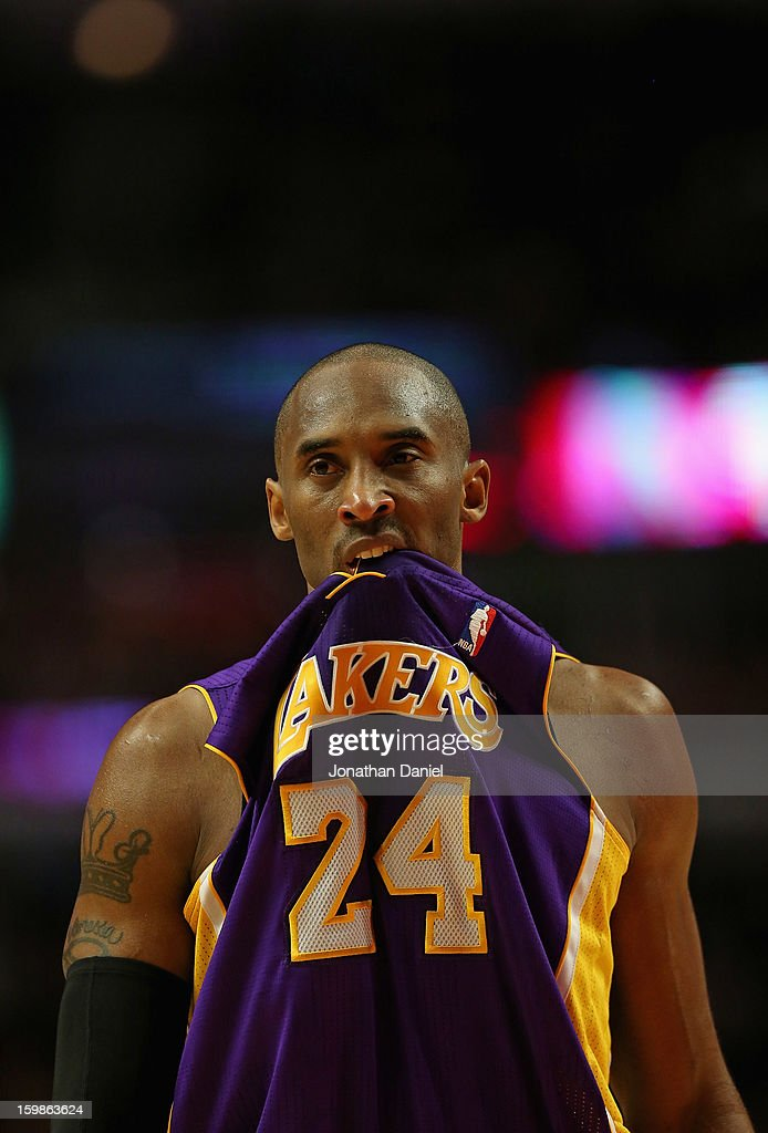 Kobe Bryant #24 of the Los Angeles Lakers bites his jersey during a game against the Chicaog Bulls at the United Center on January 21, 2013 in Chicago, Illinois. The Bulls defeated the Lakers 95-83.