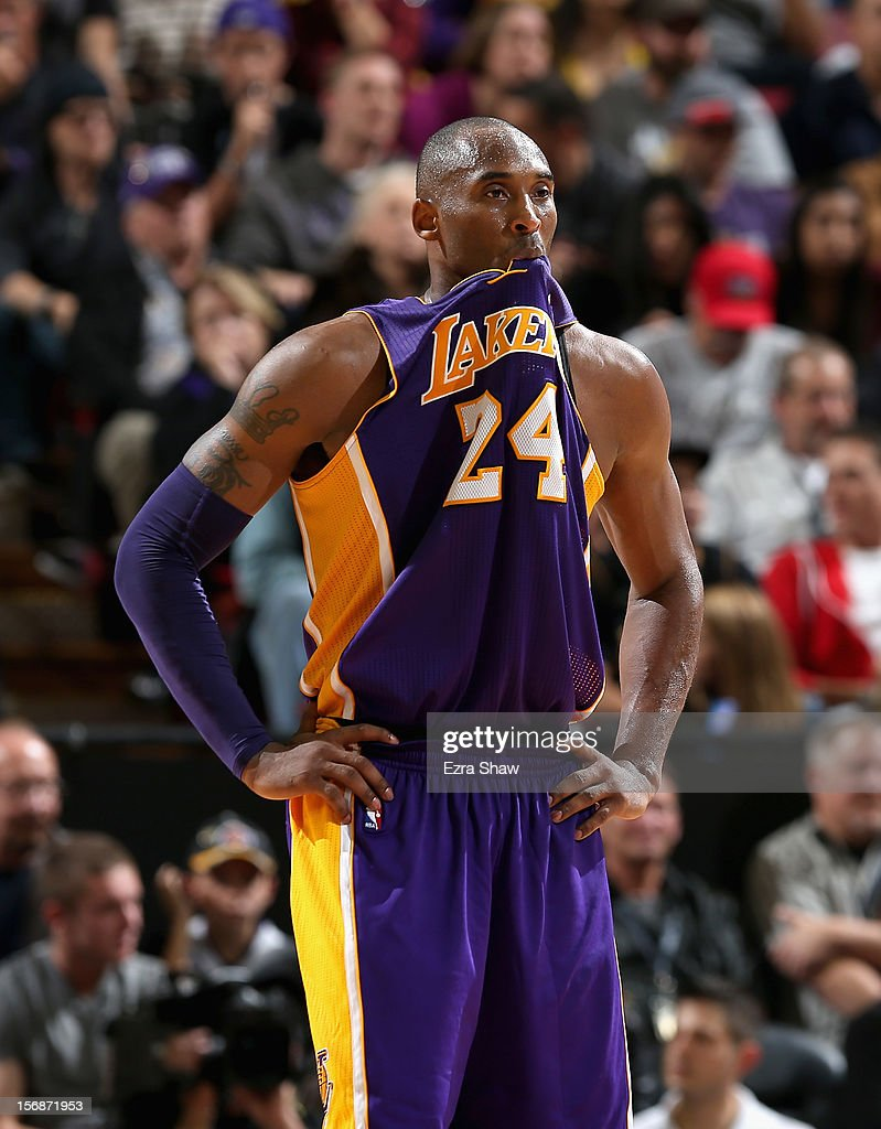 Kobe Bryant #24 of the Los Angeles Lakers bites his jersey during their game against the Sacramento Kings at Power Balance Pavilion on November 21, 2012 in Sacramento, California.
