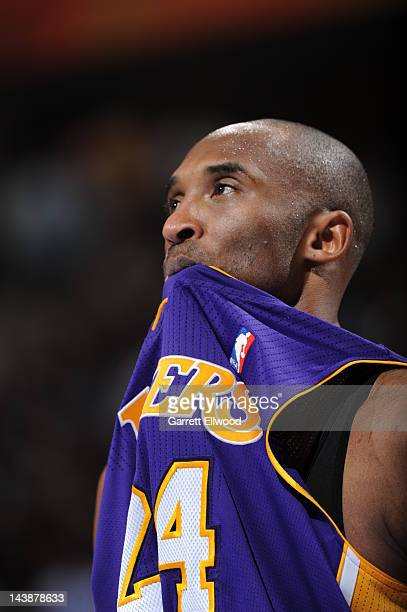 Kobe Bryant of the Los Angeles Lakers bites his jersey while playing against the Denver Nuggets in Game Three of the Western Conference Quarterfinals...
