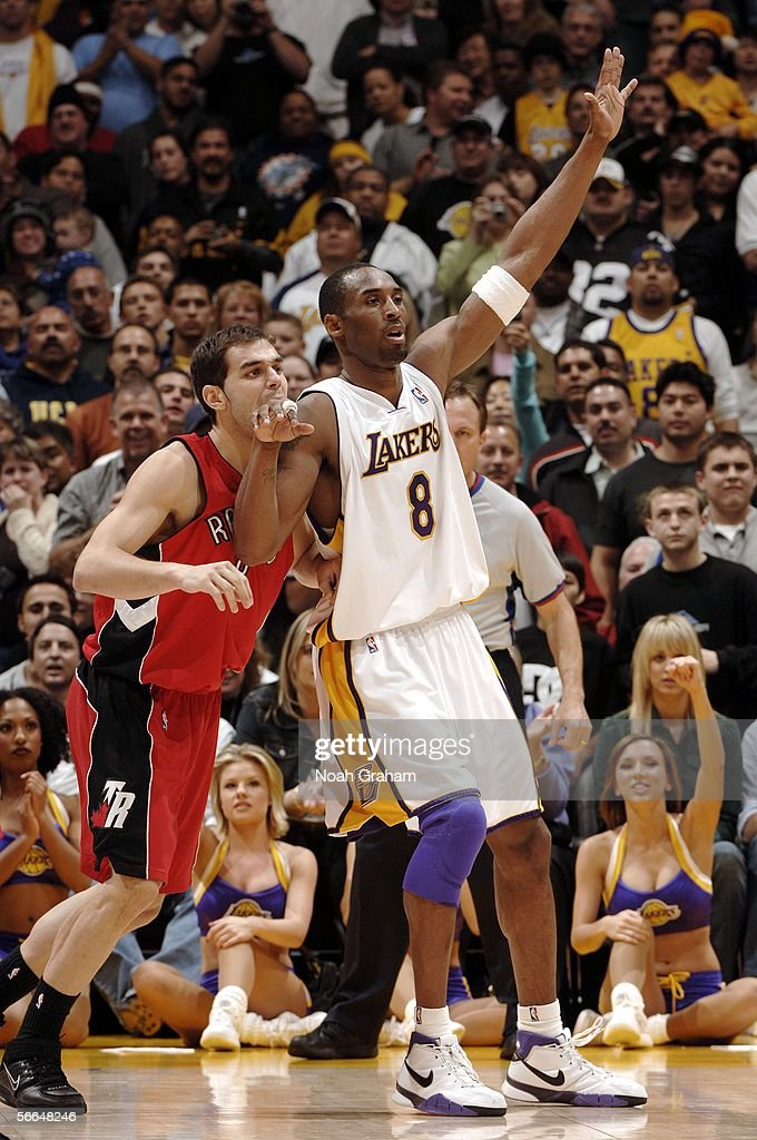 <a gi-track='captionPersonalityLinkClicked' href=/galleries/search?phrase=Kobe+Bryant&family=editorial&specificpeople=201466 ng-click='$event.stopPropagation()'>Kobe Bryant</a> #8 of the Los Angeles Lakers calls for the ball against Jose Calderon #8 of the Toronto Raptors on January 22, 2006 at Staples Center in Los Angeles, California. scored 81 points in the game.