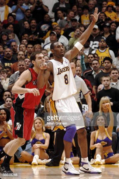 Kobe Bryant of the Los Angeles Lakers calls for the ball against Jose Calderon of the Toronto Raptors on January 22 2006 at Staples Center in Los...