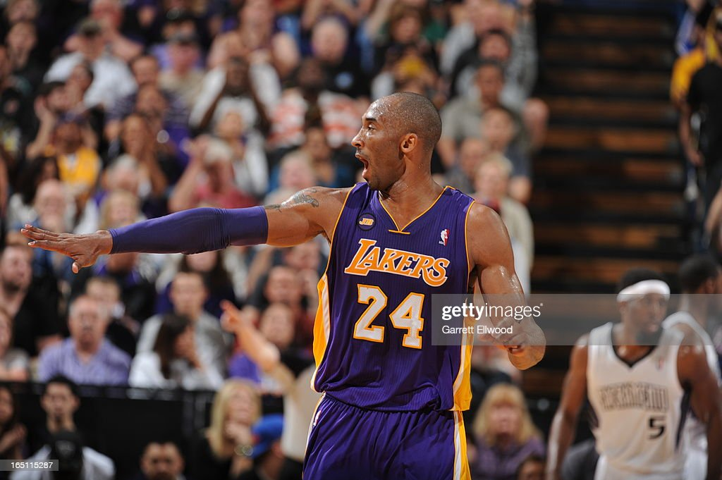Kobe Bryant #24 of the Los Angeles Lakers calls out the play during a break in action against the Sacramento Kings on March 30, 2013 at Sleep Train Arena in Sacramento, California.