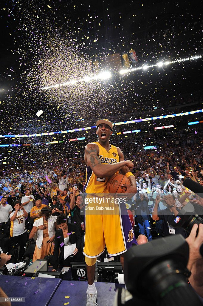 Kobe Bryant #24 of the Los Angeles Lakers celebrates after defeating the Boston Celtics 83-79 in Game Seven of the 2010 NBA Finals on June 17, 2010 at Staples Center in Los Angeles, California.