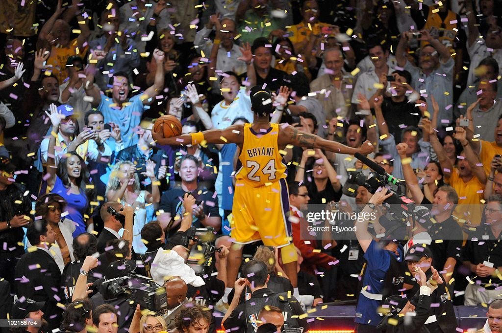 <a gi-track='captionPersonalityLinkClicked' href=/galleries/search?phrase=Kobe+Bryant&family=editorial&specificpeople=201466 ng-click='$event.stopPropagation()'>Kobe Bryant</a> #24 of the Los Angeles Lakers celebrates after Game Seven of the 2010 NBA Finals on June 17, 2010 at Staples Center in Los Angeles, California.