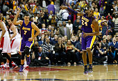 Kobe Bryant of the Los Angeles Lakers celebrates after hitting a three pointer late in the fourth quarter of the Lakers 108104 win over the...