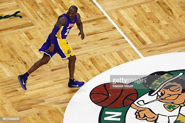 Kobe Bryant of the Los Angeles Lakers celebrates after scoring against the Boston Celtics during the fourth quarter at TD Garden on December 30 2015...