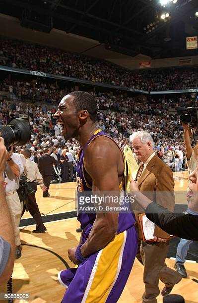 Kobe Bryant of the Los Angeles Lakers celebrates after they beat the San Antonio Spurs 7473 on Derek Fisher's gamewinning buzzer beater in Game five...