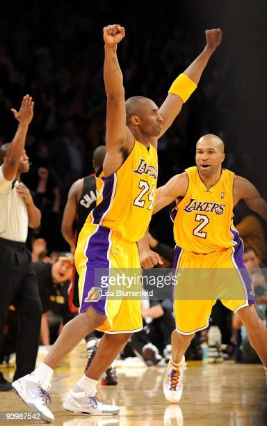 Kobe Bryant of the Los Angeles Lakers celebrates defeating the Miami Heat 108107 at Staples Center on December 4 2009 in Los Angeles California NOTE...