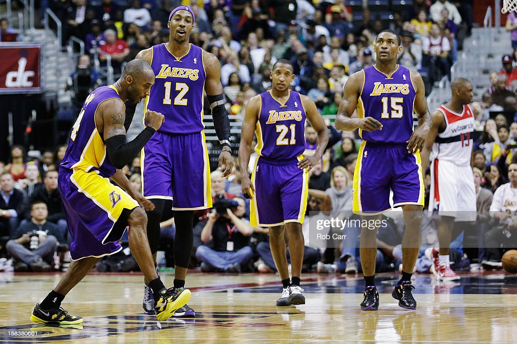 <a gi-track='captionPersonalityLinkClicked' href=/galleries/search?phrase=Kobe+Bryant&family=editorial&specificpeople=201466 ng-click='$event.stopPropagation()'>Kobe Bryant</a> #24 of the Los Angeles Lakers celebrates during the closing minutes of the Lakers 102-96 win over the Washington Wizards at Verizon Center on December 14, 2012 in Washington, DC.