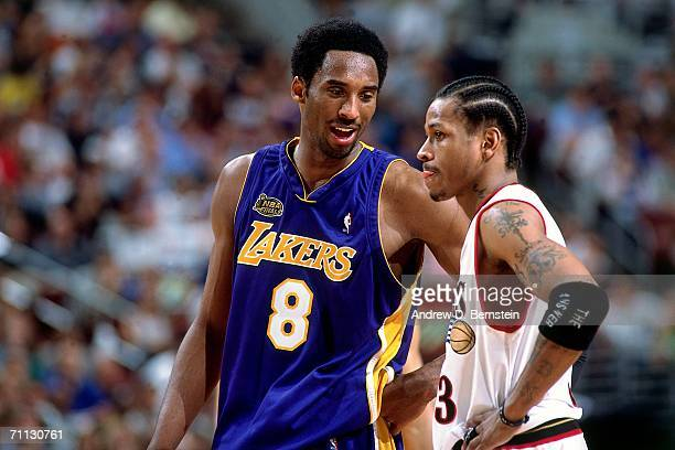 Kobe Bryant of the Los Angeles Lakers chats with Allen Iverson of the Philadelphia76ers during game five of the 2001 NBA Finals played June 15 2001...