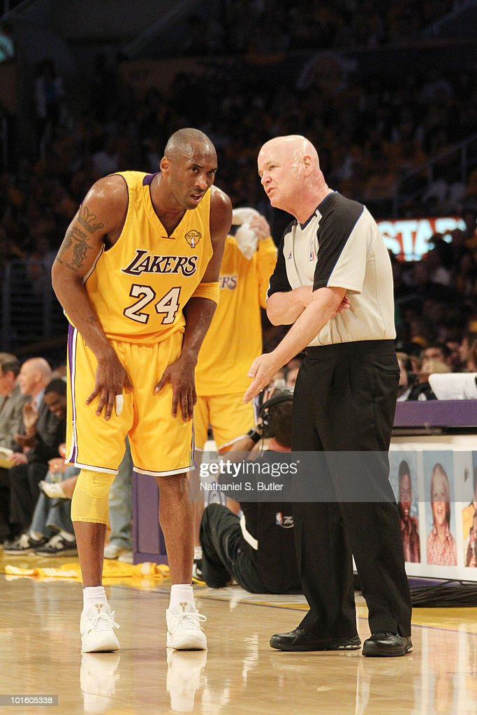 Kobe Bryant #24 of the Los Angeles Lakers consults with referee Joey Crawford during Game One of the 2010 NBA Finals against the Boston Celtics in on June 3, 2010 at Staples Center in Los Angeles, California.