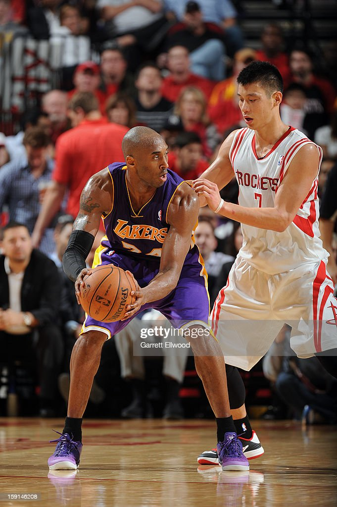 Kobe Bryant #24 of the Los Angeles Lakers controls the ball against Jeremy Lin #7 of the Houston Rockets on January 8, 2013 at the Toyota Center in Houston, Texas.