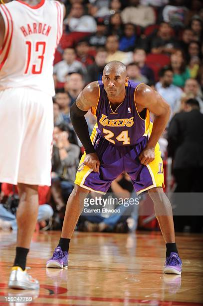 Kobe Bryant of the Los Angeles Lakers defends against the Houston Rockets on January 8 2013 at the Toyota Center in Houston Texas NOTE TO USER User...