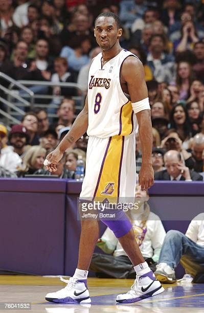 Kobe Bryant of the Los Angeles Lakers displays emotion against the Toronto Raptors during his 81 point explosion on January 22 2006 at Staples Center...