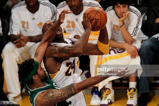 Kobe Bryant of the Los Angeles Lakers draws contact as he attempts a shot against Rasheed Wallace of the Boston Celtics in Game Two of the 2010 NBA...