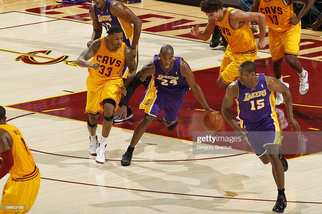 <a gi-track='captionPersonalityLinkClicked' href=/galleries/search?phrase=Kobe+Bryant&family=editorial&specificpeople=201466 ng-click='$event.stopPropagation()'>Kobe Bryant</a> #24 of the Los Angeles Lakers dribbles the ball up court against the Cleveland Cavaliers at The Quicken Loans Arena on December 11, 2012 in Cleveland, Ohio.
