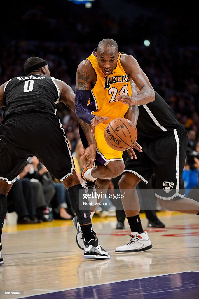 <a gi-track='captionPersonalityLinkClicked' href=/galleries/search?phrase=Kobe+Bryant&family=editorial&specificpeople=201466 ng-click='$event.stopPropagation()'>Kobe Bryant</a> #24 of the Los Angeles Lakers drives against <a gi-track='captionPersonalityLinkClicked' href=/galleries/search?phrase=Andray+Blatche&family=editorial&specificpeople=4282797 ng-click='$event.stopPropagation()'>Andray Blatche</a> #0 of the Brooklyn Nets at Staples Center on November 20, 2012 in Los Angeles, California.