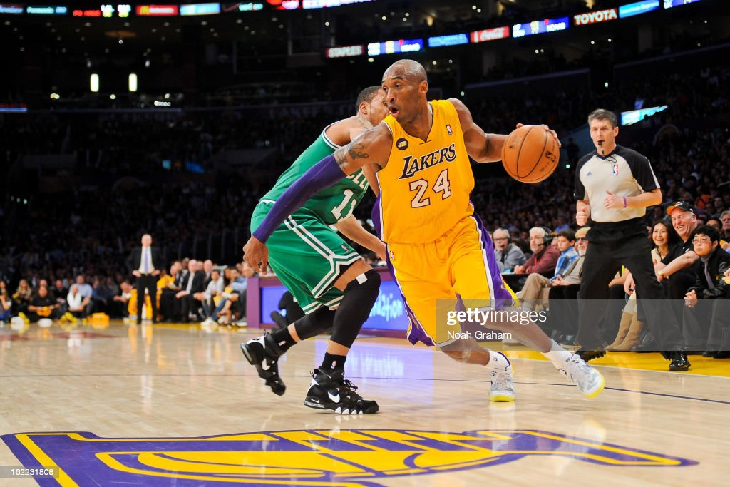 Kobe Bryant #24 of the Los Angeles Lakers drives against Courtney Lee #11 of the Boston Celtics at Staples Center on February 20, 2013 in Los Angeles, California.