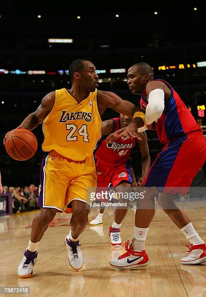 Kobe Bryant of the Los Angeles Lakers drives against Cuttino Mobley of the Los Angeles Clippers at Staples Center on April 12 2007 in Los Angeles...