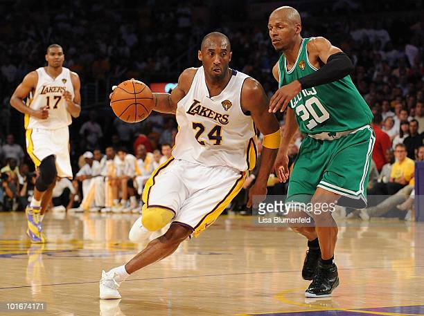 Kobe Bryant of the Los Angeles Lakers drives against Ray Allen of the Boston Celtics in Game Two of the 2010 NBA Finals at Staples Center on June 6...