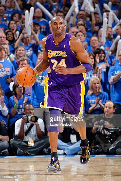 Kobe Bryant of the Los Angeles Lakers drives the ball up court against the Oklahoma City Thunder in Game Six of the Western Conference Quarterfinals...