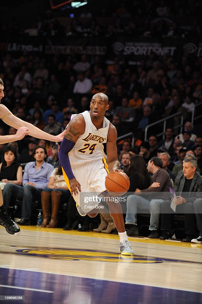 <a gi-track='captionPersonalityLinkClicked' href=/galleries/search?phrase=Kobe+Bryant&family=editorial&specificpeople=201466 ng-click='$event.stopPropagation()'>Kobe Bryant</a> #24 of the Los Angeles Lakers drives to the basket against the Cleveland Cavaliers at Staples Center on January 13, 2013 in Los Angeles, California.