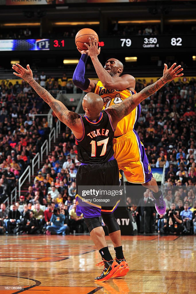 <a gi-track='captionPersonalityLinkClicked' href=/galleries/search?phrase=Kobe+Bryant&family=editorial&specificpeople=201466 ng-click='$event.stopPropagation()'>Kobe Bryant</a> #24 of the Los Angeles Lakers drives to the basket against the Phoenix Suns on January 30, 2013 at U.S. Airways Center in Phoenix, Arizona.