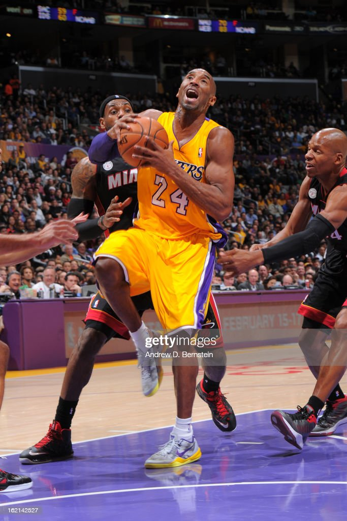 <a gi-track='captionPersonalityLinkClicked' href=/galleries/search?phrase=Kobe+Bryant&family=editorial&specificpeople=201466 ng-click='$event.stopPropagation()'>Kobe Bryant</a> #24 of the Los Angeles Lakers drives to the basket against the Miami Heat at Staples Center on January 17, 2013 in Los Angeles, California.