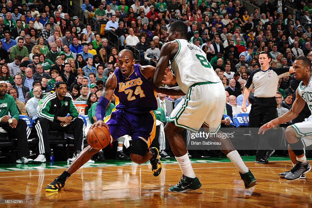 Kobe Bryant #24 of the Los Angeles Lakers drives to the basket against the Boston Celtics on February 7, 2013 at the TD Garden in Boston, Massachusetts.