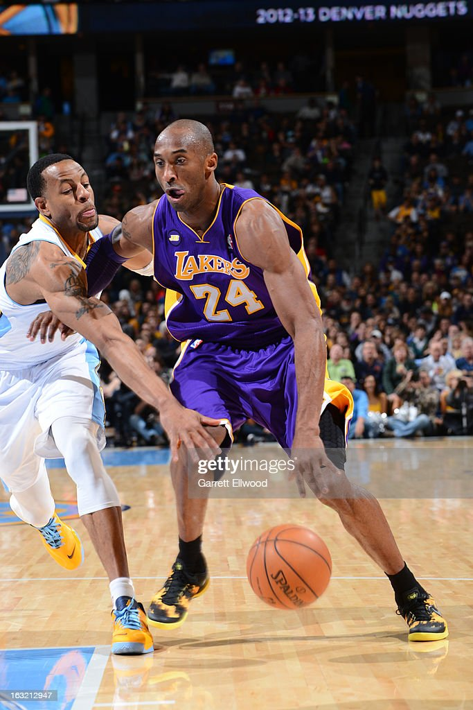 <a gi-track='captionPersonalityLinkClicked' href=/galleries/search?phrase=Kobe+Bryant&family=editorial&specificpeople=201466 ng-click='$event.stopPropagation()'>Kobe Bryant</a> #24 of the Los Angeles Lakers drives to the basket against the Denver Nuggets on February 25, 2013 at the Pepsi Center in Denver, Colorado.