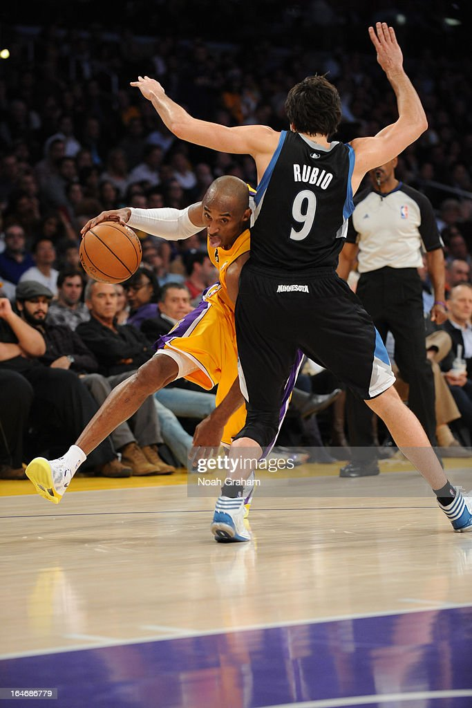 <a gi-track='captionPersonalityLinkClicked' href=/galleries/search?phrase=Kobe+Bryant&family=editorial&specificpeople=201466 ng-click='$event.stopPropagation()'>Kobe Bryant</a> #24 of the Los Angeles Lakers drives to the basket against the Minnesota Timberwolves at Staples Center on February 28, 2013 in Los Angeles, California.