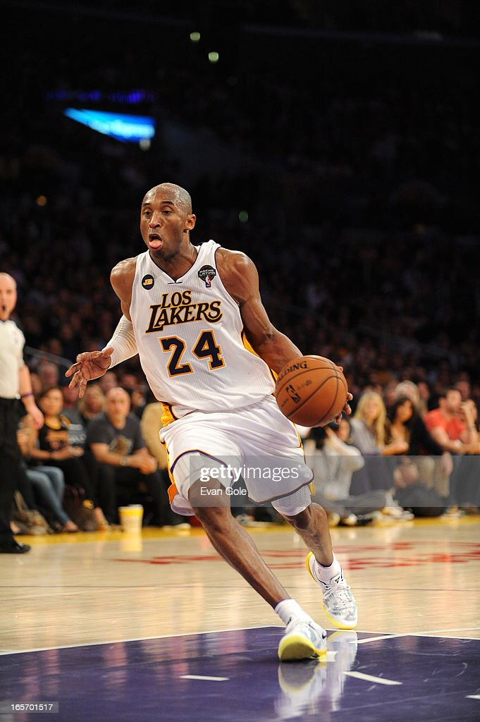 <a gi-track='captionPersonalityLinkClicked' href=/galleries/search?phrase=Kobe+Bryant&family=editorial&specificpeople=201466 ng-click='$event.stopPropagation()'>Kobe Bryant</a> #24 of the Los Angeles Lakers drives to the basket against the Atlanta Hawks at Staples Center on March 3, 2013 in Los Angeles, California.
