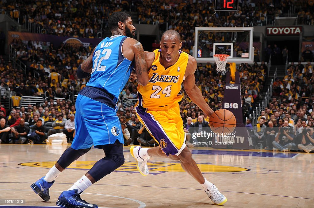<a gi-track='captionPersonalityLinkClicked' href=/galleries/search?phrase=Kobe+Bryant&family=editorial&specificpeople=201466 ng-click='$event.stopPropagation()'>Kobe Bryant</a> #24 of the Los Angeles Lakers drives to the basket against the Dallas Mavericks at Staples Center on April 2, 2013 in Los Angeles, California.