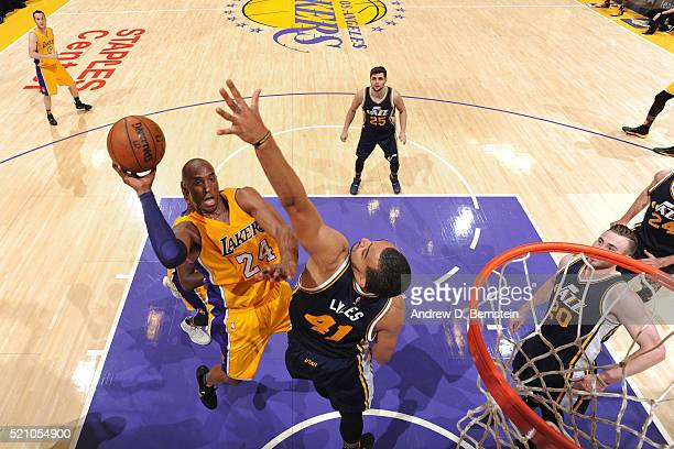 Kobe Bryant of the Los Angeles Lakers drives to the basket against the Utah Jazz on April 13 2016 at Staples Center in Los Angeles California NOTE TO...