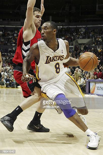 Kobe Bryant of the Los Angeles Lakers drives to the basket against the Toronto Raptors during his 81 point explosion on January 22 2006 at Staples...