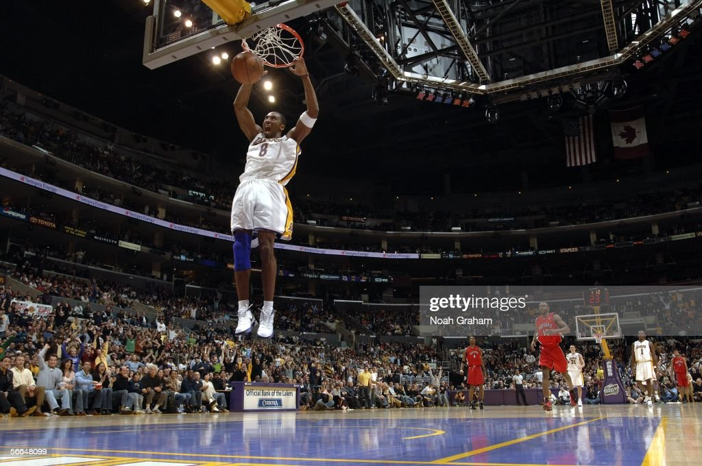 Kobe Bryant of the Los Angeles Lakers dunks against the Toronto Raptors on January 22 2006 at Staples Center in Los Angeles California NOTE TO USER...