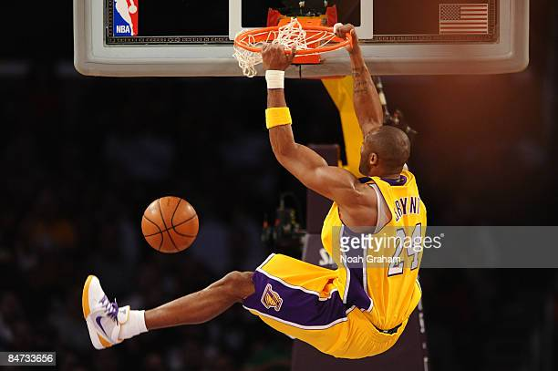 Kobe Bryant of the Los Angeles Lakers dunks during a game against the Oklahoma City Thunder at Staples Center on February 10 2009 in Los Angeles...