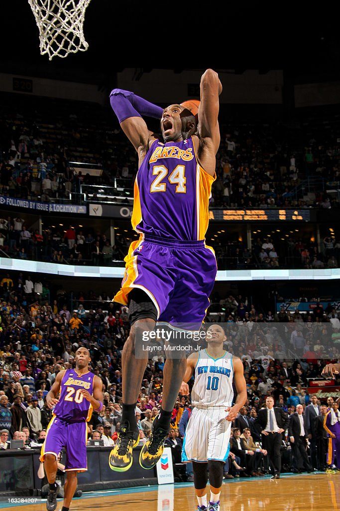 <a gi-track='captionPersonalityLinkClicked' href=/galleries/search?phrase=Kobe+Bryant&family=editorial&specificpeople=201466 ng-click='$event.stopPropagation()'>Kobe Bryant</a> #24 of the Los Angeles Lakers dunks on a fast break against the New Orleans Hornets on March 6, 2013 at the New Orleans Arena in New Orleans, Louisiana.