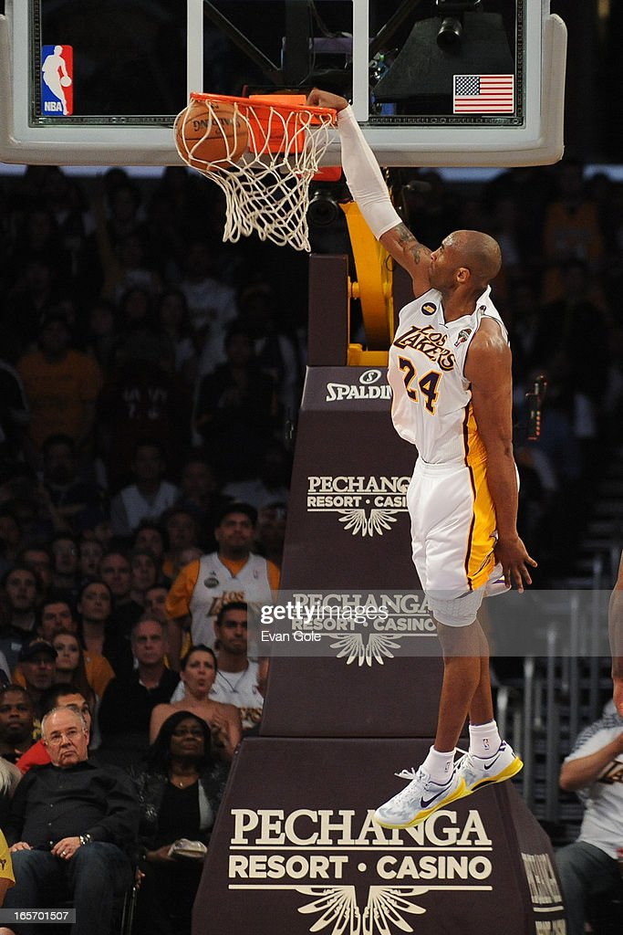 <a gi-track='captionPersonalityLinkClicked' href=/galleries/search?phrase=Kobe+Bryant&family=editorial&specificpeople=201466 ng-click='$event.stopPropagation()'>Kobe Bryant</a> #24 of the Los Angeles Lakers dunks the ball against the Atlanta Hawks at Staples Center on March 3, 2013 in Los Angeles, California.