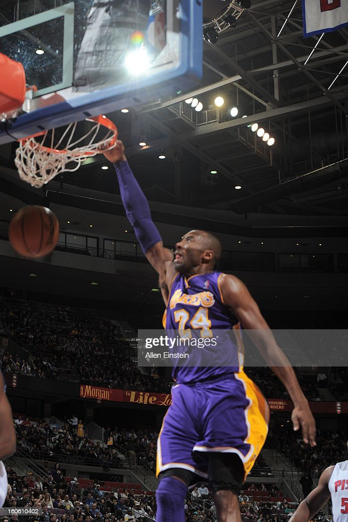 Kobe Bryant #24 of the Los Angeles Lakers dunks the ball against the Detroit Pistons during the game on February 3, 2013 at The Palace of Auburn Hills in Auburn Hills, Michigan.